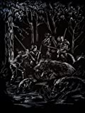 WASO-Hobby - 4er Scrapy Kratzbilder Set - Jagd-Motive / Silber *Groß*