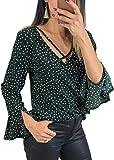 Angashion Damen Mode Sommer Top Mit V-Ausschnitt Chiffon Causual Oberteil Bluse Mit Schnürung Vorne Für Party Ärmel und Taile Grün S