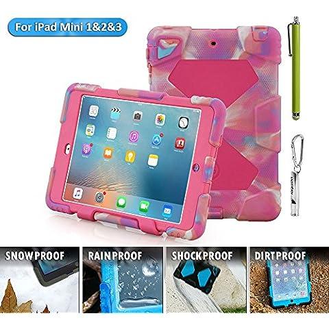 iPad Mini Funda, acegua rder® para niños, antigolpes, impermeable Series para iPad Mini 3/2/1Camo con soporte (Negro), Camo Rosa, iPad Mini Hülle
