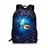 Showudesigns Blue Animal Shark Backpack for Primary Boys Girls Ocean Bookbags
