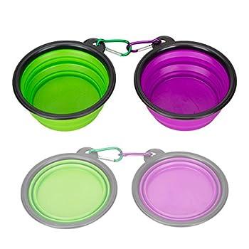 Pet bol rétractable en silicone, lot de 2, idegg® en silicone de qualité alimentaire, sans BPA, pliable extensible Tasse Plat pour nourriture pour chien/chat Eau d'alimentation bol Voyage Portable