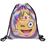 HELLATHUND Fashion Schule Rucksack Weiblichen Beutel für Mädchen Beuteltasche Hipster Tasche Rucksack Turnbeutel mit Kosmetiktasche Einhorn (Emoji King)
