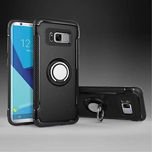 YHUISEN Galaxy S8 Fall, Rüstung Dual Layer 2 in 1 Heavy Duty Schutz Fall mit 360 Grad drehenden Finger Ring Halter und Magnet Auto Halter Fall für Samsung Galaxy S8 ( Color : Navy ) Black