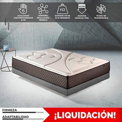 Komfortland Colchon 150x190 viscoelástico Memory Vex Foam de Altura 25 cm, 5 cm de ViscoProgression Grafeno