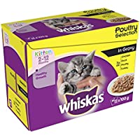 WHISKAS 2-12 Months Kitten Pouches Poultry Selection in Gravy 12 x 100 g (Pack of 4, total 48 pouches)