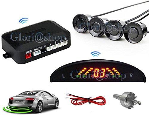 4 sensori parcheggio wireless kit retromarcia display led lcd digitale