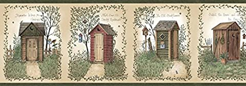 CTR50321B - Sheds Campagne Chambre Outhouses Vert Beaux Decor Wallpaper Border