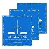 3x Augustine Blue Saitensatz (Stark) Nylon-Konzert-Klassik-Gitarre-Saiten-Satz