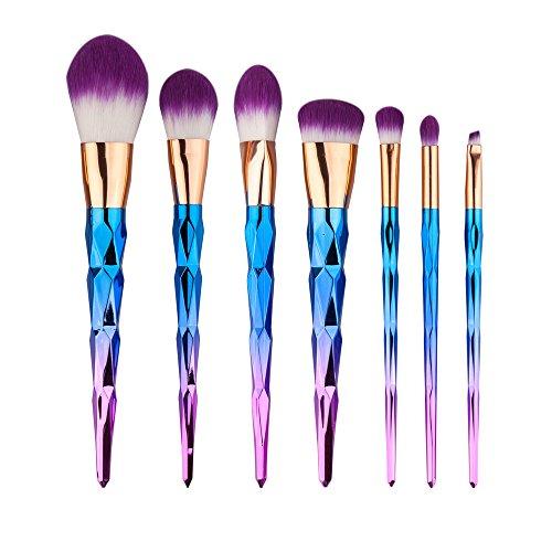 Pinceau Maquillage, 7Pcs Pinceaux Spirale Professionnel & Brush Cosmétique pour les Poudres, Anticernes, Contours, Fonds de Teints, Mélanges et Eyeliner - Coloré