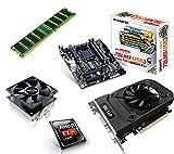 One PC Aufrüstkit | AMD FX-Series Bulldozer FX-4300, 4x 3.80GHz | montiertes Aufrüstset | Mainboard: Gigabyte GA-78LMT-USB3 | 8 GB RAM (1 x 8192 MB DDR3 Speicher 1600 MHz) | CPU Mainboard Bundle | Grafik: 2 GB NVIDIA GeForce GTX 1050 (HDMI, DVI, DP) | komplett fertig montiert!