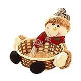 RWINDG_Decoration RWINDG Weihnachtssüßigkeits-Speicherkorb-Dekoration Weihnachtsmann-Ablagekorb-Geschenk Natur Weihnachtslichter