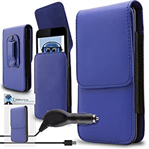 """iTALKonline Argos Alba 4"""" Blue PREMIUM PU Leather Vertical Executive Side Pouch Case Cover Holster with Belt Loop Clip and Magnetic Closure and 1000 mAh Coiled In Car Charger LED Indicator and Overload Protection"""