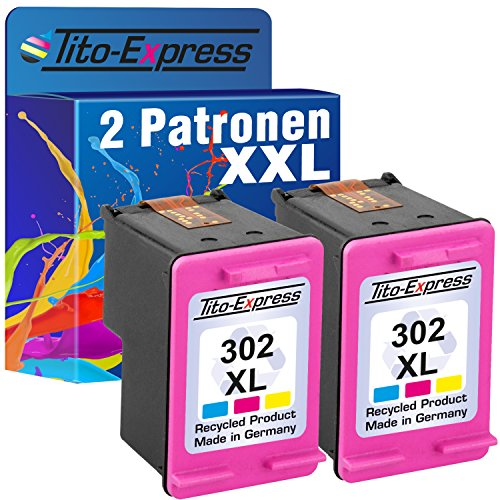 PlatinumSerie 2x Druckerpatrone remanufactured für HP 302 XL Color mit Füllstandsanzeige und 163% mehr Inhalt! Für HP Officejet 3800 Series 3830 3831 3833 3834 3835