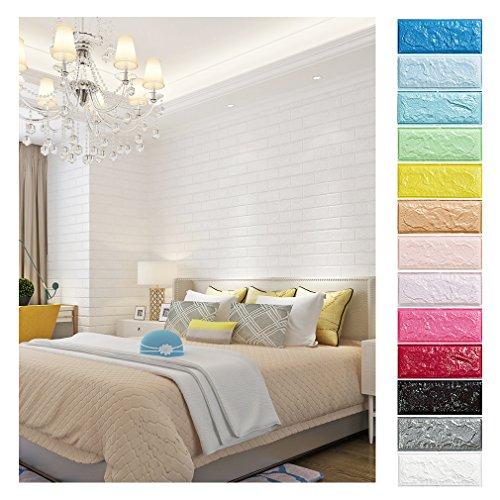 KINLO 25 Stücke Tapete Stein 70x77x1cm weiß, Verdickt/selbstlebend/3D/DIY/modern /Wasserdicht Wandaufkleber Ziegel aus hochwertigem PE für TV-Hintergrund