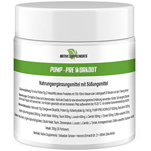 Hardcore Creatin Powder (Pump - Pre-Workout, 300g Dose, Orangen Geschmack, Hardcore Booster, Premium Qualität, Muskelaufbau Kombination, Fettverbrenner)