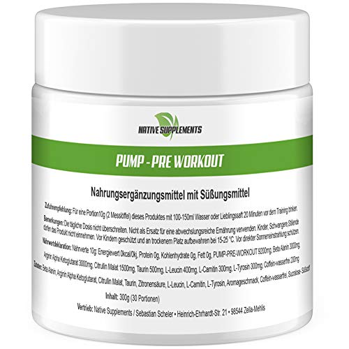 Pump - Pre-Workout, 300g Dose, Orangen Geschmack, Hardcore Booster, Premium Qualität, Muskelaufbau Kombination, Fettverbrenner