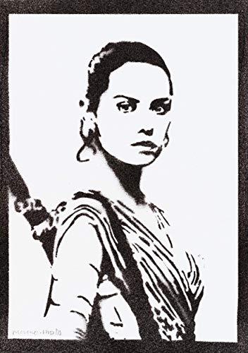 Rey STAR WARS Poster Plakat Handmade Graffiti Street Art - - Schwarz Kontakte Kostüm