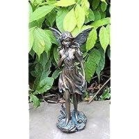 HOME HUT® - Figura decorativa de hada mágica para jardín, efecto bronce, 26 cm