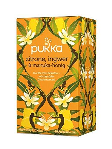PUKKA Bio Zitrone, Ingwer & Manuka-Honig Tee, 1er Pack (20 x 2,0 g Teebeutel) - BIO Honig-zitrone-ingwer