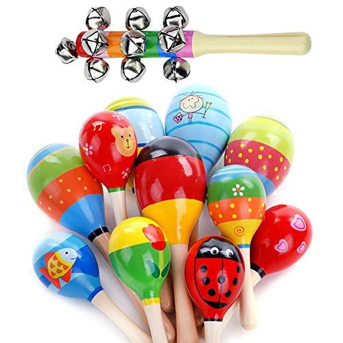 Maracas aus Holz mit 1 Handglocken-Set für Kinder und Erwachsene, bunte Mini-Maracas, Geräuschmacher für Fiesta Klassenzimmer, Musikinstrument, 12 Stück