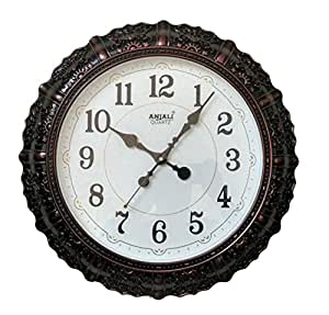 Anjali Quartz Wall Clock 7157 ROUND Shaped (White) and one KIDs watch Free