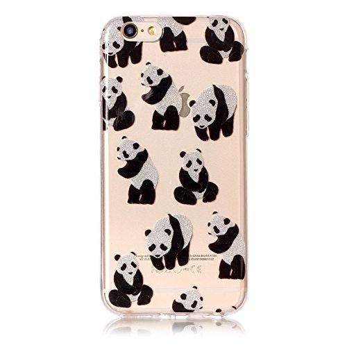 Preisvergleich Produktbild iPhone 6 6S Hülle, Chreey Glitzer Muster Transparent Handyhülle Niedlich Mode Süß Temperament Weiche TPU Silikonhülle Case Ultra Dünn Kratzfest Durchsichtige Hülle Backcover [Panda]