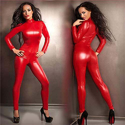 S-4XLWomen Sexy Rotes Kunstleder Latex Exotische Catwoman Kostüm Erwachsene Catsuits Cat Suit Vorne Mit Reißverschluss Zum Schritt - Für Erwachsene Bodysuit Catwoman Kostüm