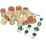 Sello de madera hojas, madera sello hawib hojas, hojas sello conjunto de 12, sello hojas
