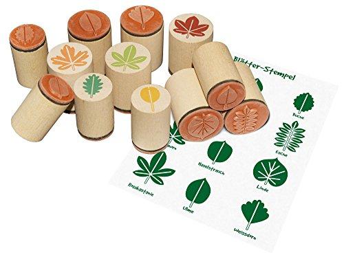 Holzstempel Blätter, Holzstempel Laubblätter, Blätterstempel 12er Set, Stempel Set Blätter (Blätter Stempel)
