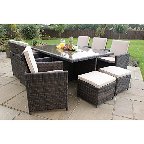 San Diego Dallas Baby Rattan Garden Furniture Brown 7 Piece Cube Set With Footstools Set