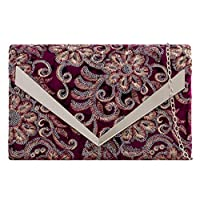 Purple Possum Clutch Bag Velvet Floral Sequins Evening Shoulder Bag Ladies Handbag (Burgundy)(Size: Medium)