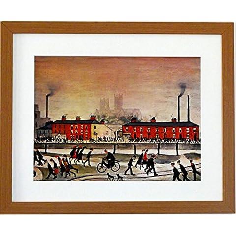 L S Lowry specialità Stampa/Picture–Lincoln–su una struttura in lino, misura media, Light Oak Finish Frame With Soft White Mount And Large Image, 20 x 16inch