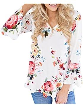 Ansenesna 1PC Las Mujeres de Otoño Casual Impresión Floral Larga llamarada Manga Camiseta Blusa