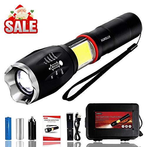 Aukelly LED Taschenlampe Wiederaufladbar Taschenlampe LED,IP65 Wasserdicht,6 Modis,LED Aufladbar Taschelenlampe Extrem Hell,1000 Lumen,Taschenlampen für Camping,Wandern,Mit 18650 Batterie