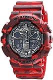 Casio G-Shock GA100CM, 4A, orologi, motivo mimetico, taglia unica, colore: rosso