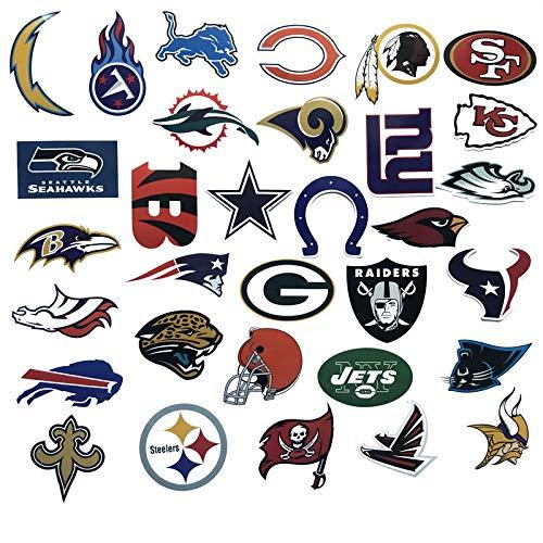 DADATU Aufkleber 32pcs/los PVC Wasserdicht American Football Club Logo Für Laptop Trunk Skateboard Kühlschrank Telefon Aufkleber Auto-Styling Spielzeug Aufkleber