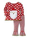 Happy Cherry - (Conjunto de 2 pcs) Traje de Navidad Camiseta con Pantalones Largos con Patrón de Papá Noel Traje de Algodón para Bebés Niñas 2-7 Años