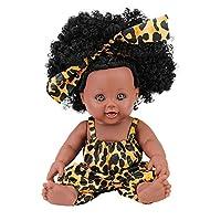 jiahuixinxikejiyouxiangongsi 30cm black doll African doll reborn baby silicone doll simulation baby doll Rhubarb circle leopard 30cm