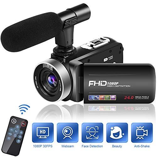 Camescope Caméra 1080P 30FPS Camescope Numérique 18X Zoom avec Microphone 3 Pouces IPS 270 Degrés Rotation Camescope avec Telecommand