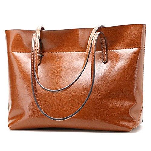 Clocolor borsa spella a tracolla da donna large capacity borsa a mano vera pelle borsa da viaggio tote bag secchio classico e alla moda marrone