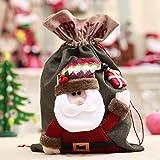 Delicacydex 3 Style Coulisse Natale Borse Babbo Natale alci Sacchi Sacchetti Regalo Sacchetti di Caramelle per Il Favore di Partito e Decorazioni per L'Albero di Natale