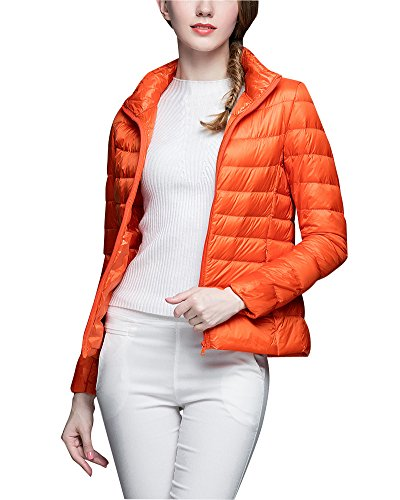 Damen Daunenjacke Ultra Leicht Steppjacke Daunenmantel Winter Mantel Übergangsjacke Orange 2XL (Mantel Orange Winter)