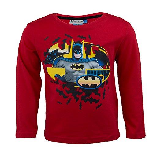 der Langarmshirt Aus 100% Jersey Baumwolle, Justice League Superhelden Langarm T-Shirt FR Jungen - Shirt Farbe: Rot, Gr. 98 (Super Helden Robin)