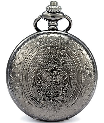 SEWOR Classic Carved Shell Dial Japanese Quartz Movement Pocket Watch with Fashion Double Chain (Metal & Leather) (Black)