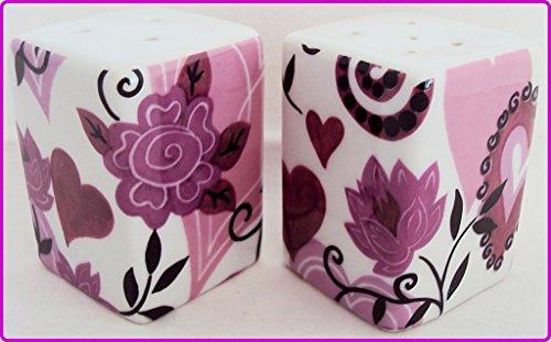 Moulin à poivre et sel Motif cœurs et fleurs en porcelaine carré Poivrière cœurs Poivrière décoré à la main au Royaume-Uni