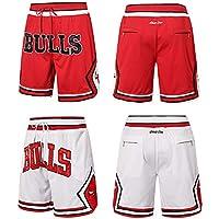 REDLIFE Pantalones Cortos De Baloncesto De Chicago Bulls, Pantalones Cortos De Entrenamiento Deportivo Hombres-White-M