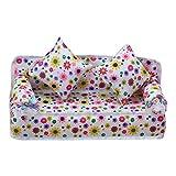 ZREAL Mini Möbel Blumenmuster Sofa Couch + 2 Kissen für Baby Puppenhaus Zubehör
