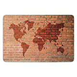 ziHeadwear Bathroom Bath Rug Kitchen Floor Mat Carpet,Rustic Home Decor,Brick Wall with World Atlas Map Reflection Pattern Contemporary Artful Scene,Orange,Flannel Microfiber Non-Slip Soft Absorbent