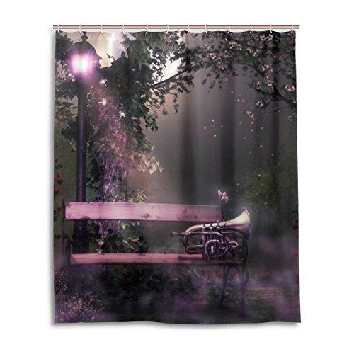 Bad Vorhang für die Dusche 152,4x 182,9cm Gothic Bling violett Light Schmetterling Orchestermusik Kornett Polyester-Schimmelfest-Badezimmer Vorhang