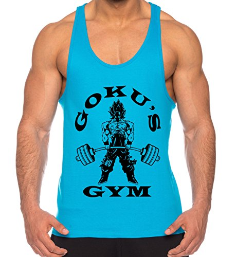 Goku Golds de los Hombres Camisa del músculo One Goku Dragon Master Son Ball Vegeta Turtle Roshi Piece Gym, Farbe2:Turquesa;Größe2:S